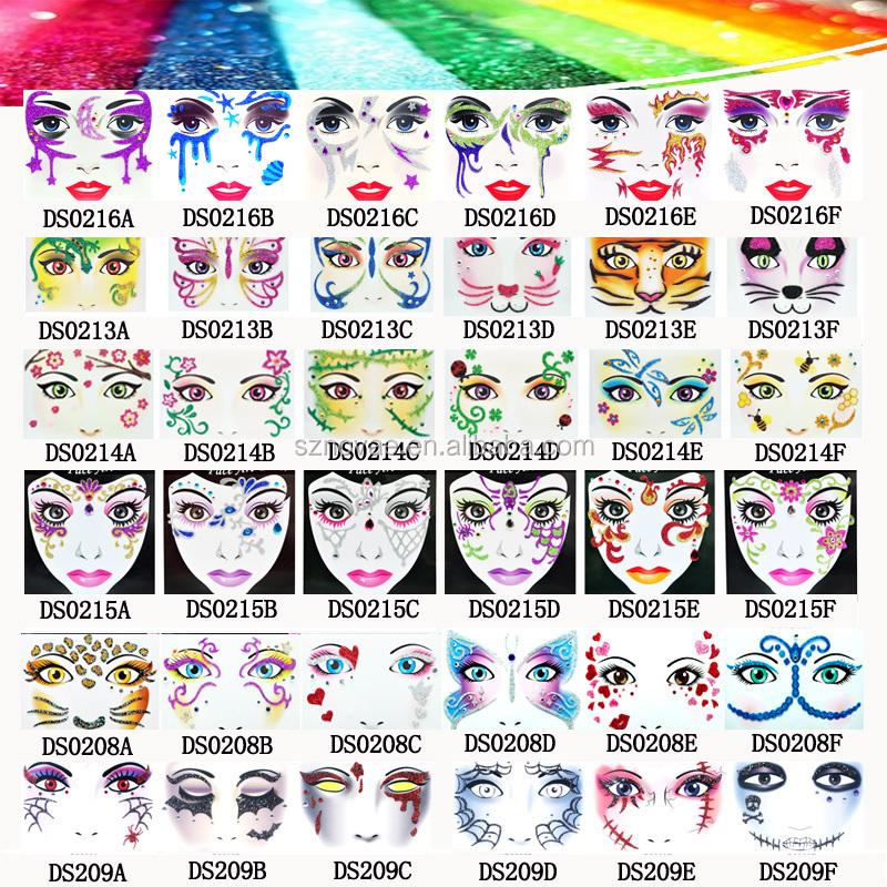 DS0213F CE ROHS Kitty Design Glitter Temporary Face Sticker Tattoo for  Halloween Festivals