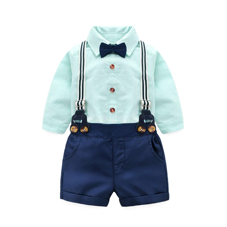 364190267 Get Quotations · Tem Doger 2PCS Toddler Baby Summer Set Gentleman T-Shirts  Tops+Bib Pant Overalls