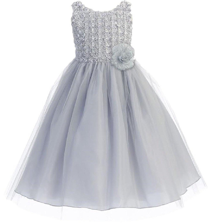 3e5775da3c49c Get Quotations · Little Girls Sleeveless Tulle Skirt Dress Rosette Bodice Flowers  Girls Dresses
