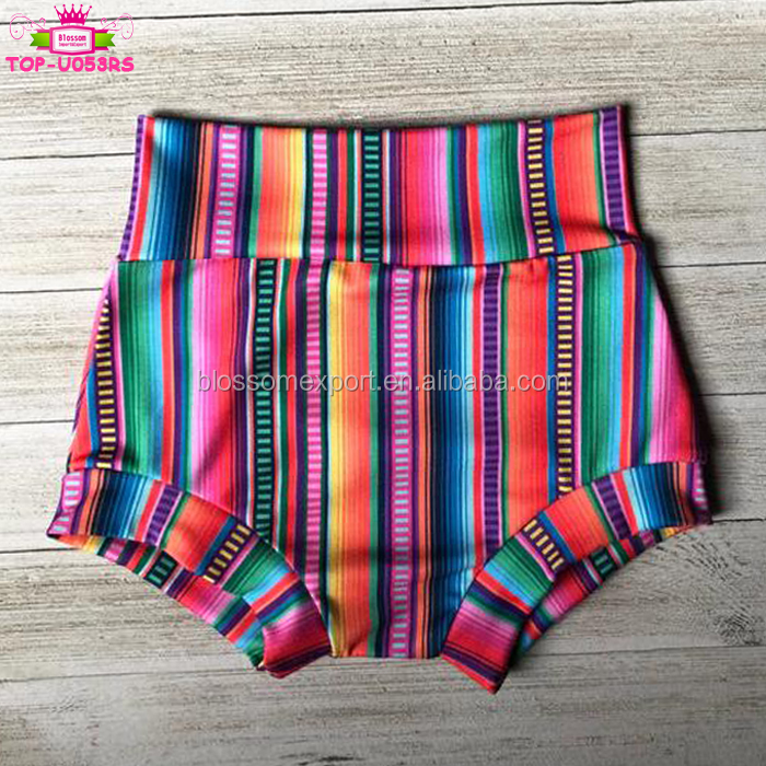 Summer Newborn Baby Ruffle Bummies Shorts Mexican Serape Stripes Fabric Clothing Girls Ruffle Leg Bloomers