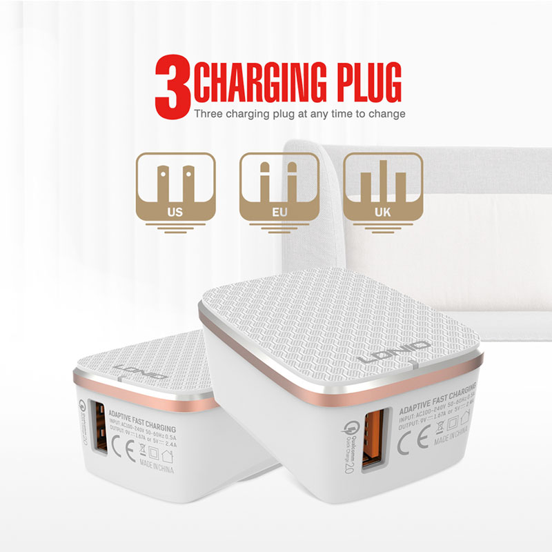 LDNIO A1204Q Desktop USB Travel Charger With One QC3.0 Fast Charging Port For Xiaomi/Huawei/Vivo Cell Phone