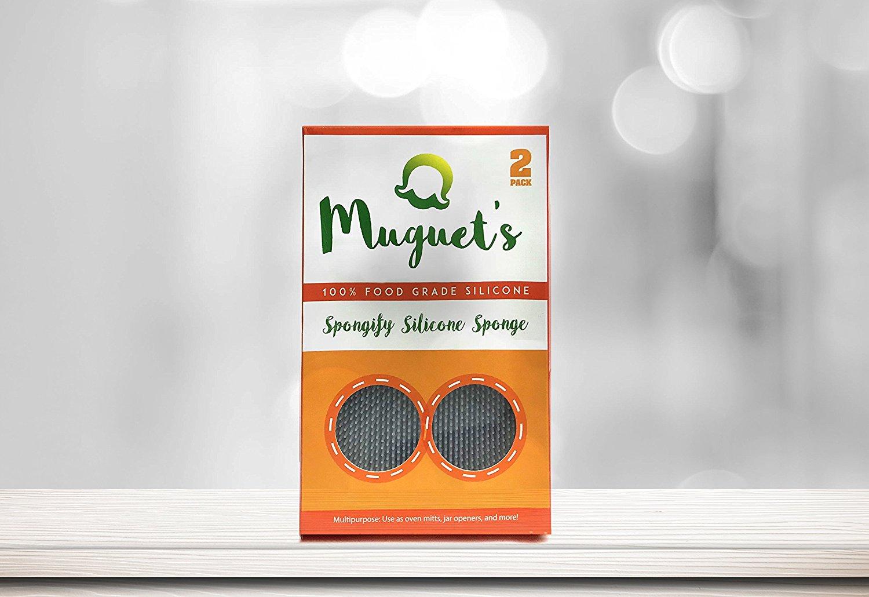 MUGUET'S Spongify Silicone Kitchen Sponge | Premium 2-Pack | Food-Grade Antibacterial Multipurpose | Nonstick Heat-Resistant | Eco-Friendly BPA-Free Diswasher Safe | Oven Mitt Fruit&Vegetable Washer