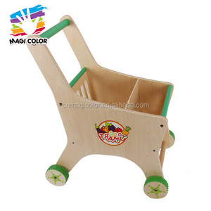 Wholesale supermarket wooden kids toy shopping trolley funny children wooden toy shopping trolley W16E068-S