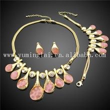 dubai fashion bridal jewelry,antique gold jewelry, pink stone necklace set