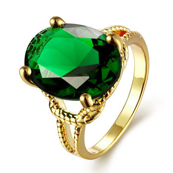 Wholesale fashion single green stone finger gold ring designs for girls