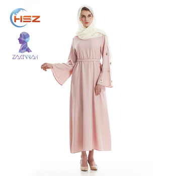 Zakiyyah 7006 Elegant Solid Color Pearl Abaya Dubai Brief Imagine Photo Baju Kurung Modern Islamic Clothing