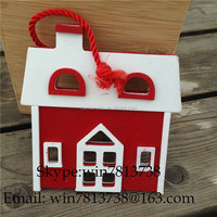 Hotel Scene Arrangement Indoor DecorationWooden Christmas Houses Fiber Optic Christmas Village Houses With Hanging Rope Arcades
