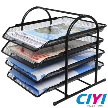 Black metal mesh 4 tier office file desk organizer shelf rack