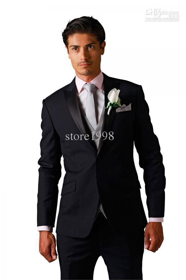 Wholesale - 2015 New Custom Made Black Two Buttons Groom Tuxedos Best Man Peak Satin Lapel Groomsmen Men Wedding Suit Bridegroom
