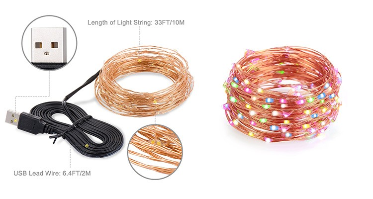 Led Copper Wire String Lights,Usb Powered,10m/100leds,For Indoor ...