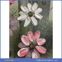 Latest design silver foil flower oil paintings with LED light