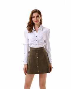 Ladies Uniform Business Lady Suit Long Sleeve Shirt and Suede Short Skirt