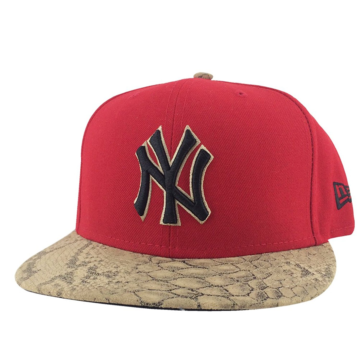 68ecae89140 Get Quotations · New Era New York Yankees Red Black Brown Snakeskin Visor  Strapback Snap Hat Cap