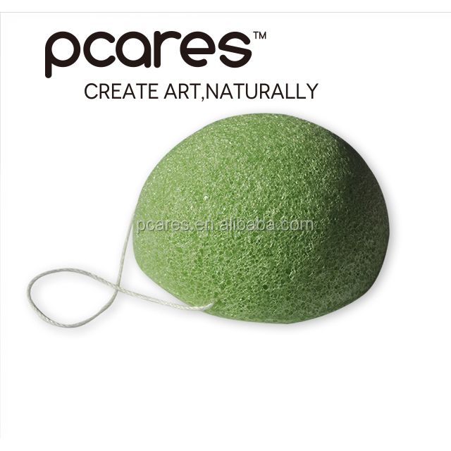 Green Tea half round shape 100% natural konjac facial cellulose sponge with CE