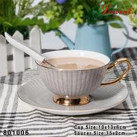 new design table ware porcelain european tea cup and saucer flower shape with low price