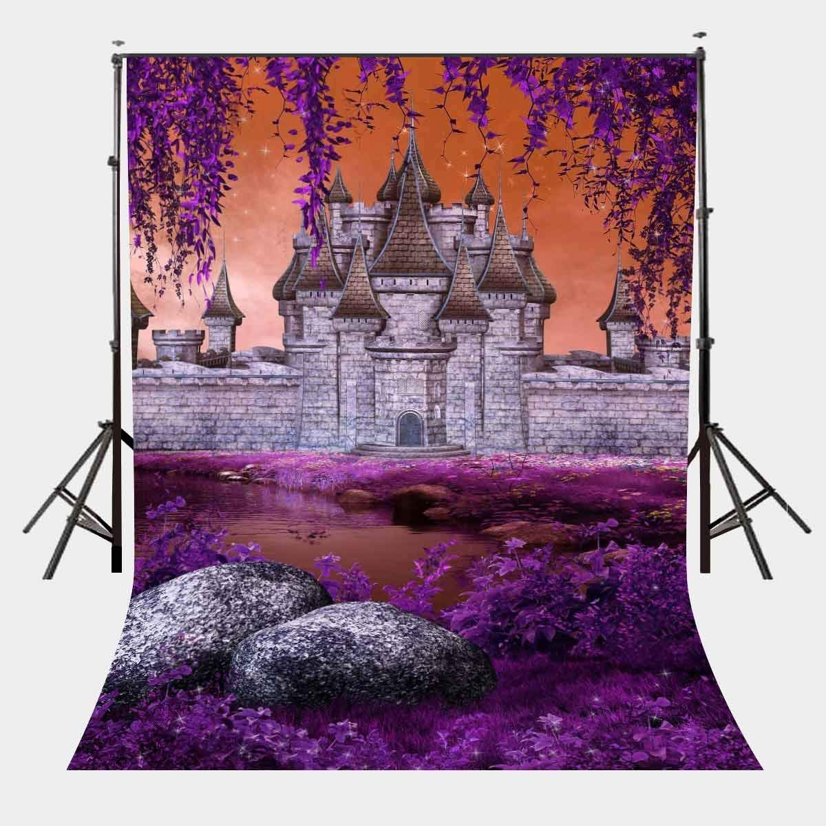 ERTIANANG 150x220cm River Beach View Backdrop Standing Castle Background Ultra Violet Color Flower Backdrop