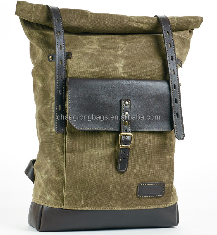 2015 new design army green waxed canvas hiking backpack,large canvas school backpack, vintage laptop backpack for students