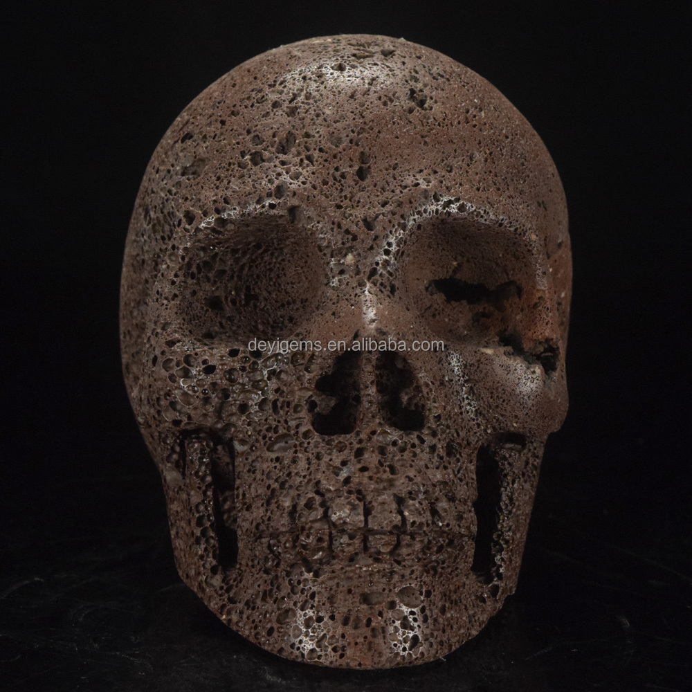 Beautiful Natural Red lava volcanic stone Carving Skull