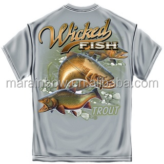 100% Polyester UPF50+ Mens Short Sleeve Fishing T Shirt Trout Fishing Graphic Tee Outdoor Performance T Shirt