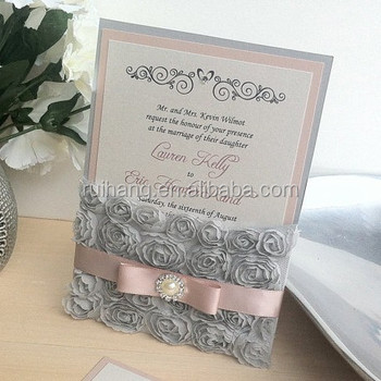 Rosette lace wedding invitation buy silver pocket invitation rosette lace wedding invitation filmwisefo