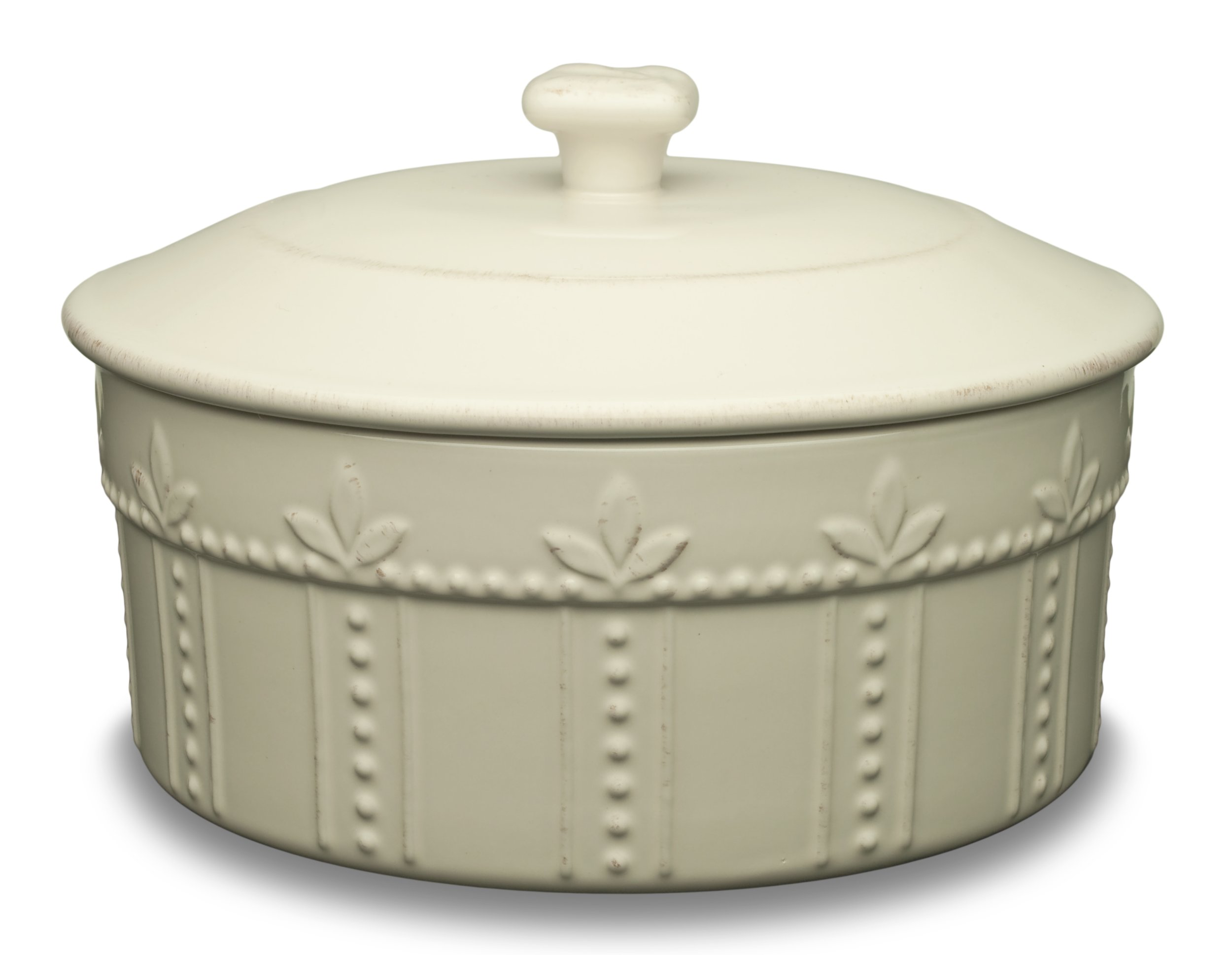 Signature Housewares Sorrento Collection 8.5-Inch Covered Souffle Dish, Ivory Antiqued Finish