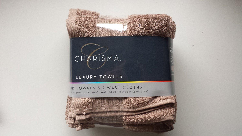 Charisma 4pk Luxury Towels Set: 2 Hand Towels & 2 Wash Cloths (Cobble Stone)