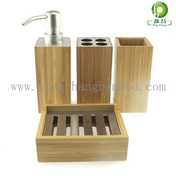 Cheap bamboo wooden bathroom accessories set buy wooden bathroom accessories cheap bathroom for Cheap bathroom accessories set