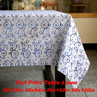 Wholesale table cover Fabric Foil Print Tablecloths Metallic Printing Banquet Table Linen roll flower 60x84in blue