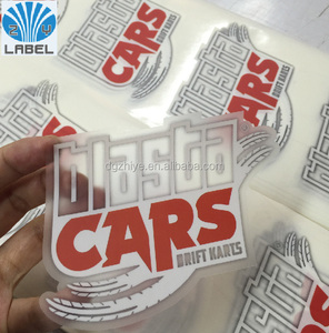 Custom die cut label logo sticker transparent sticker clear sticker with PVC material