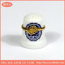 white ceramics porcelain custom thimble set with custom logo branding or hand ring high-end unique jewelry holder