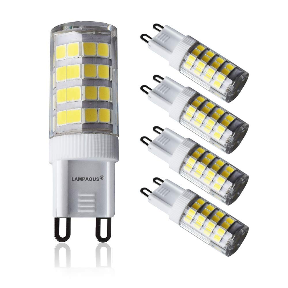 LAMPAOUS G9 LED Light Bulb 5W Daylight Bulbs 50W Halogen Equivalent,400lm,120V,6000K G9 Base Lamp for Crystal Chandelier Lighting Flush Mount Ceiling Light Fixture Pendant Lamp,4 Pack
