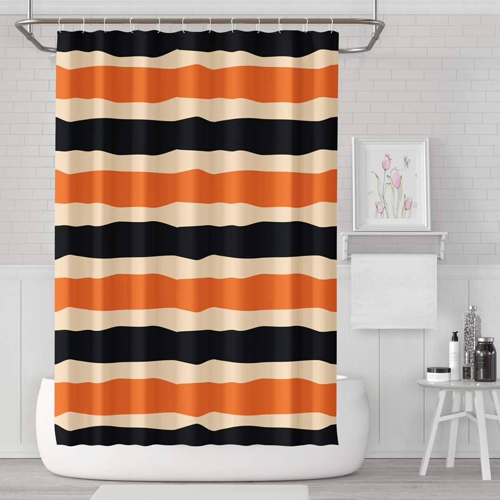 Get Quotations Asoco Shower Curtain Set With 12 Hooks Striped Halloween Holiday Made Black Orange Colors Bright