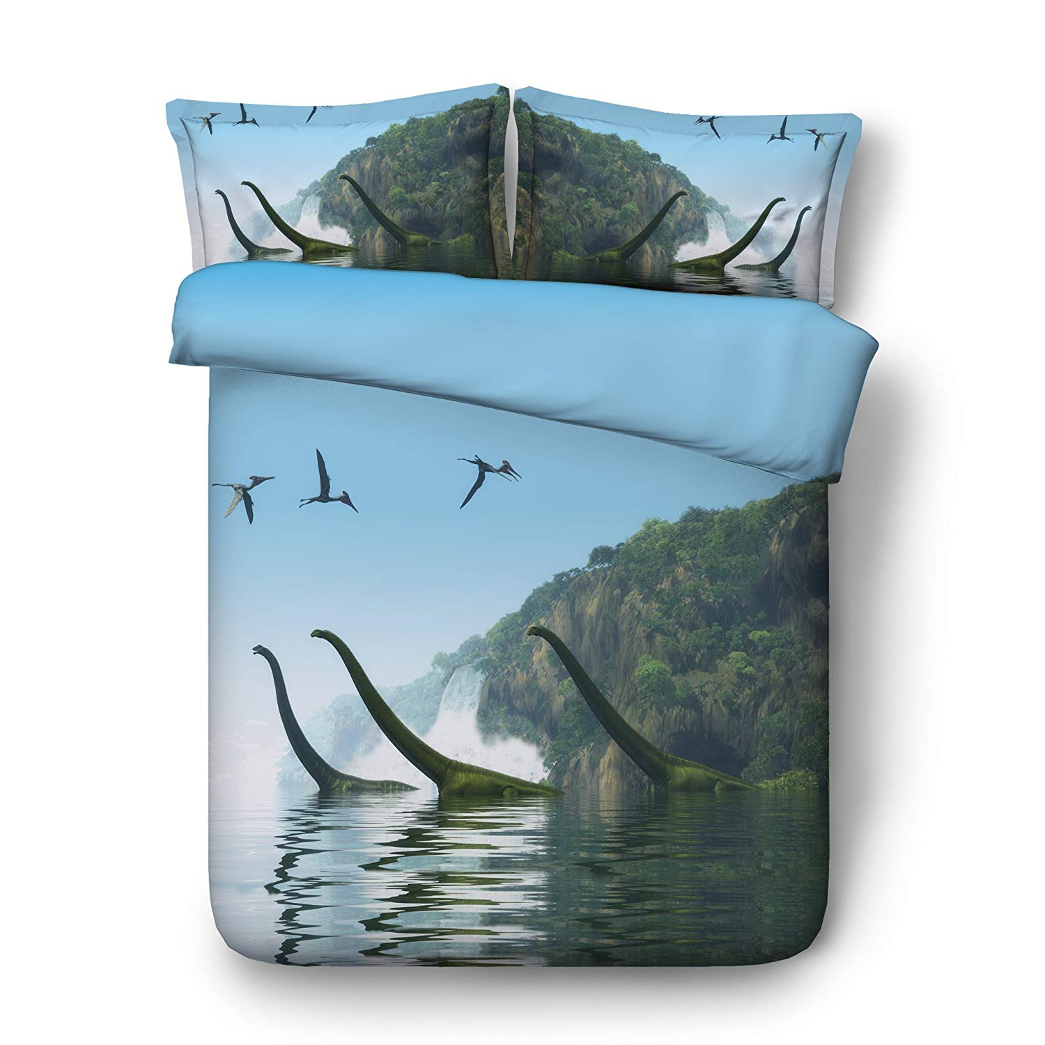 EsyDream Jurassic Period 3D Oil Dabble Dinosaur In Lake Men's Bedding Quilt Cover Twin King Queen Size Jurassic World Dinosaur in The Water Boys Bedding Bedspreads(King Size 3pc)