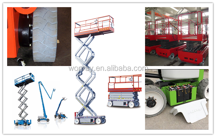 hot sale aerial scissor lift natural rubber solid tyres 12x4.5 wheels