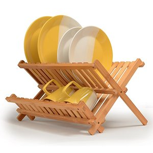 Bamboo Dish Rack Foldable Dish Drying Rack Collapsible Dish Drainer Wooden Plate Rack