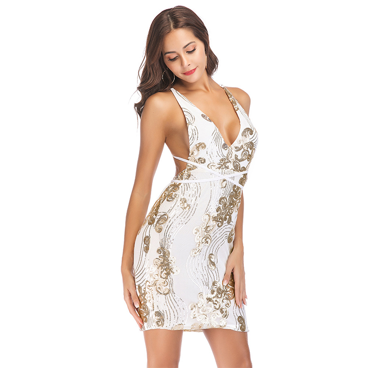 Women bodycon sequin beaded fashion club spaghetti strap mini dress sexy