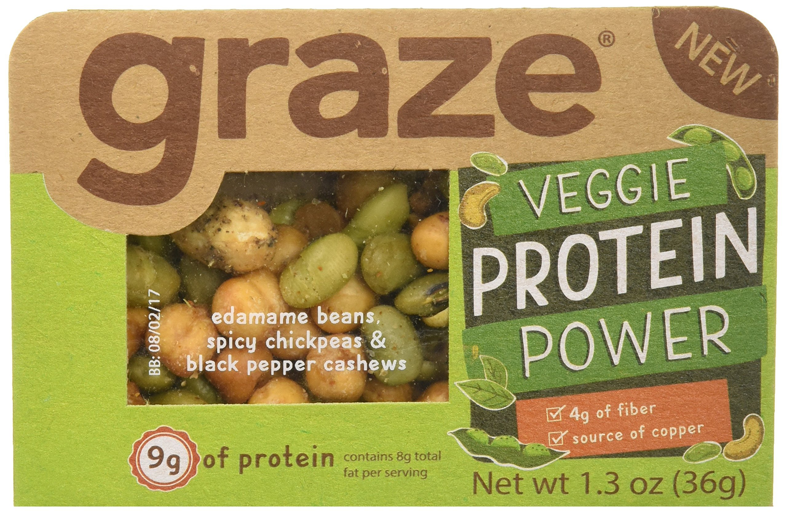 Graze Natural Veggie Protein Power Snack Mix with Spicy Chickpeas, Edamame Beans and Black Pepper Cashews, Tasty, Healthy, Natural Nut Trail Mix, 1.3 Ounce Box, 9 Pack