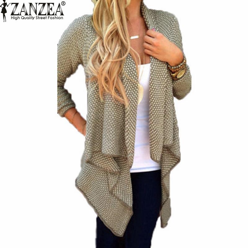 2016 Spring Autumn ZANZEA Women Blusas Casual Loose Knit Waterfall Cardigan Jacket Long Sleeve Irregular Sweater