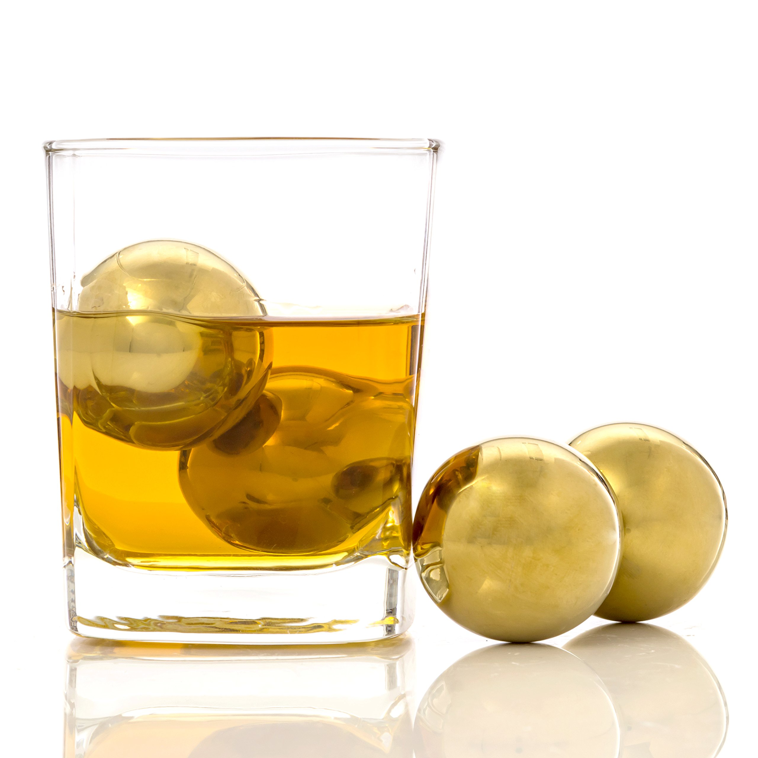 Chill-O Stainless Steel Gold Whiskey Big Ice Balls Set of 4 - BIG BALLS Series Whiskey Chillers - Wine Chillers - Beer Chillers - Vodka Chillers - Champagne Chillers - Spirits Chillers - Ball Chillers