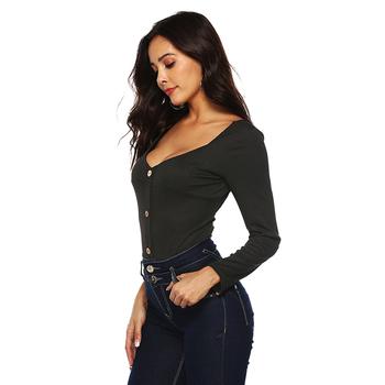 cba60fdd98 HEXIN Women's Basic Knit Long Sleeve Bodycon Thong Bodysuit Tops