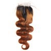 Wholesale Brazilian Human Remy Cuticle Aligned Hair Light Brown Body Wave 4*4 Lace Closure