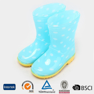 2016 cheap cute design PVC transparent dots pattern children light blue garden rain boots