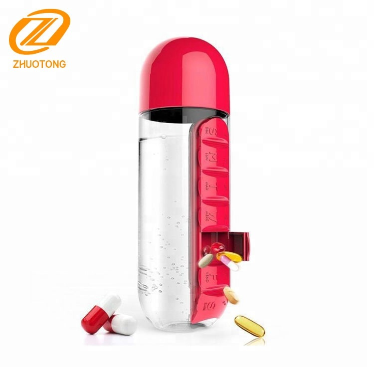 Hot sale fashionable BPA free 600ml new 2 in 1 7 daily pill organizer drinking bottle/pill box water bottle with leak-proof cup