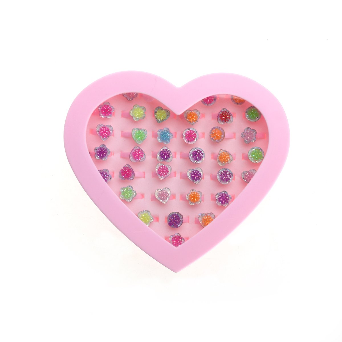 Cheap where to buy plastic rings find where to buy plastic rings get quotations bestoyard plastic flower rings adjustable colorful rings with heart shape display case for bridal shower birthday izmirmasajfo