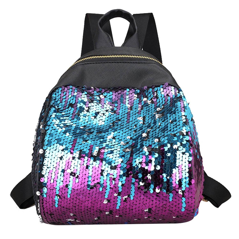 BESTOYARD Sequins Backpack Bag Fashion PU Leather Shoulder Bag Casual Backpack Travel School Backpack Bag for Women Girls