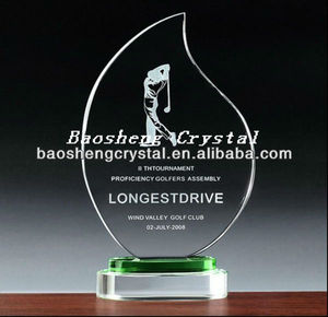 Leaf shaped trophy and award gifts with crystal (BS-TRleaf)