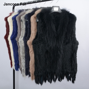 Fashionable Real Rabbit Fur Vest with Genuine Raccoon Fur Collar Winter Warm Waistcoat