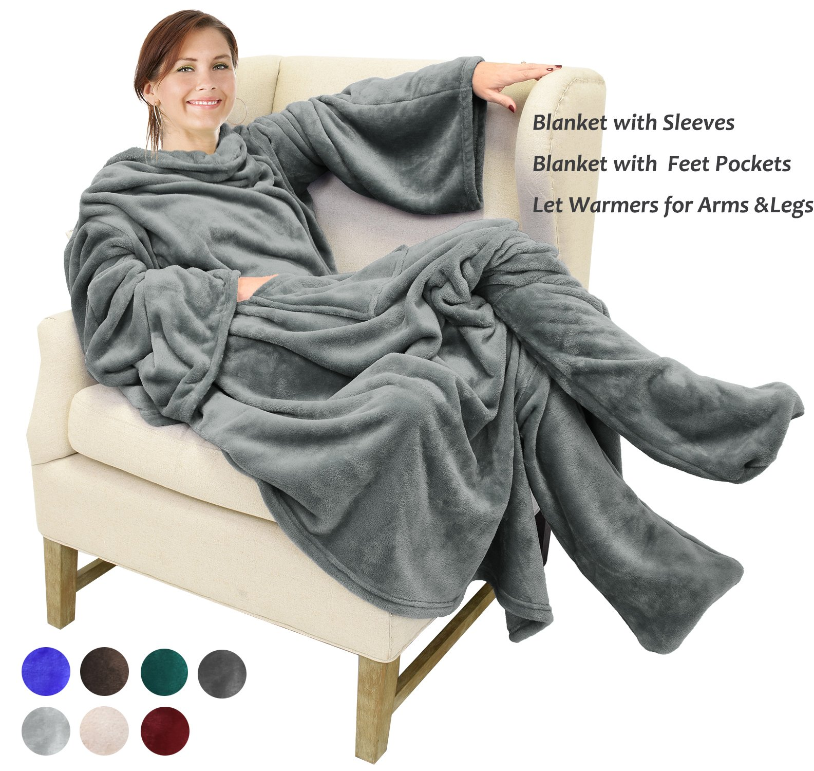 da3256c12 Get Quotations · Catalonia Wearable Fleece Blanket with Sleeves   Foot  Pockets for Adult Women Men