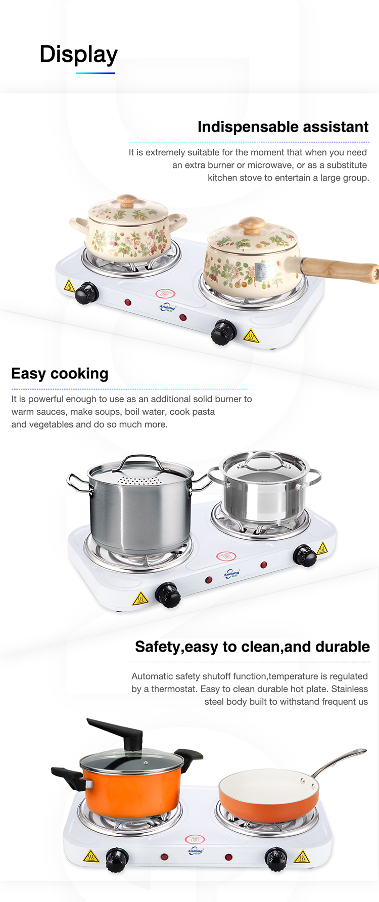 Cooking electric stove /commercial electric range oven with 2 hot plate for restaurant