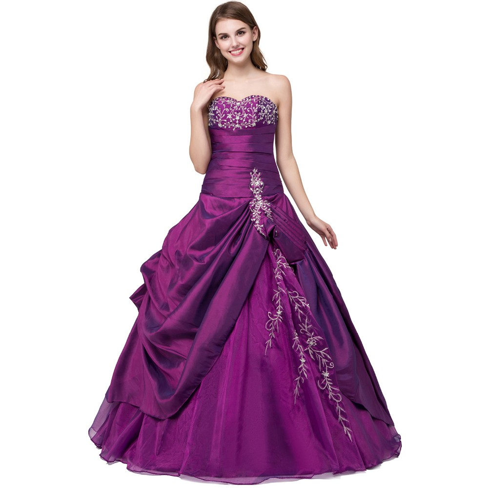 a7fdb6d0f62c5 ANGELSBRIDEP Purple Sweet 16 Ball Gowns Quinceanera Dresses Cheap  Sweetheart Floor-Length Purple 2017 Special Occasion Dresses